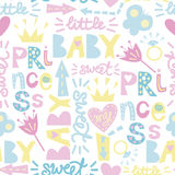 Seamless baby pattern with inscriptions Princess, Sweet, Baby stock illustration