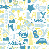 Seamless baby pattern with label Boy, Baby, Little. Stock Photo
