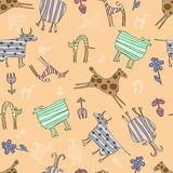 Seamless baby pattern with Pets. Seamless baby pattern with abstract cow, goat. sheep, cat, dog, horse and flowers Stock Photography