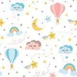 Seamless baby pattern sky elements moon cloud rainbow hot balloon stars Kids texture Vector. Seamless baby pattern Sky elements - rainbow moon stars smiling stock illustration
