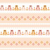 Seamless baby pattern teddy bears, flowers, pyramid, pink color. Vector seamless baby pattern teddy bears, flowers, pyramid, pink color Stock Photography