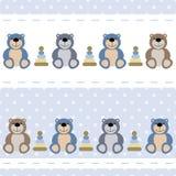 Seamless baby pattern teddy bears, toys. Vector seamless baby pattern teddy bears, toys Stock Photos