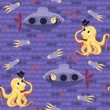 Seamless baby pattern – underwater meeting Royalty Free Stock Photos
