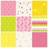 9 Seamless Baby Patterns. Baby Texture royalty free illustration