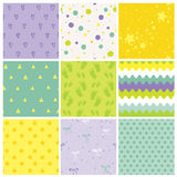 9 Seamless Baby Patterns. Baby Texture stock illustration