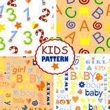 Seamless baby patterns. Four seamless baby patterns with letters and numbers Vector Illustration