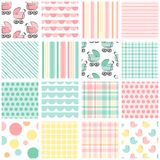 16 seamless baby patterns in shades of pink, peach, mint green and yellow Stock Photos