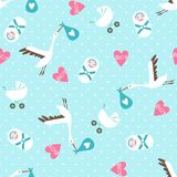 Seamless baby shower pattern on blue background Stock Images