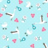 Seamless baby shower pattern on blue background. Vector illustration stock illustration
