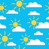 Seamless baby summer pattern with sun and cloud stock illustration