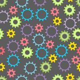 Seamless baby texture with colored gears on a dark background. Vector illustration. vector illustration