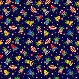 Seamless baby vector cosmic background with aliens Royalty Free Stock Photos