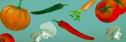Seamless Backdrop With Vegetables and Fruits stock illustration