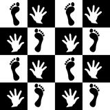 Seamless backdround trase foot and hand. Vector Stock Image
