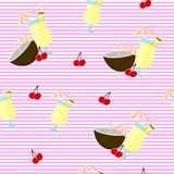 Seamless backgound. Pattern with Pina colada cocktail, coconut and cherry. White and pink stripes. vector illustration