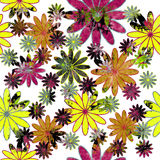 Seamless background. With colorful grunge flowers Royalty Free Stock Image