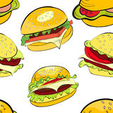Seamless background. With cartoon style hamburgers Stock Photo