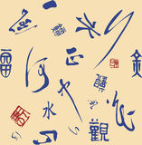 Seamless background of Chinese words. Seamless background can be repeated endlessly. Vary font Chinese characters include water, river, happy, look, right Royalty Free Stock Photos
