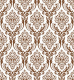 Seamless background. Seamless brown damask floral wallpaper Stock Images