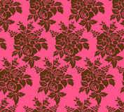 Seamless background. Seamless brown damask floral wallpaper Stock Photo