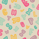 Seamless background with abc. Seamless background with hand drawn doodle alphabet. Colorfull handwriting font. Funny letters. Pattern with striped font in royalty free illustration