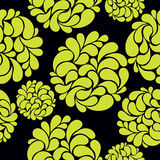 Seamless background with abstract bright flowers on a black back Stock Image