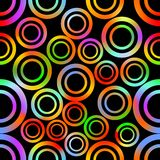 Seamless background with abstract concentric circle shapes in vivid rainbow colors Stock Photo