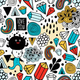 Seamless background with abstract design elements and strange creatures. Stock Photos