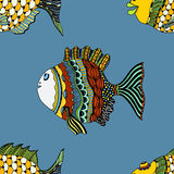 Seamless background of abstract fish. Hand drawn style zentangle. Colored vector illustration Stock Images