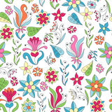 Seamless background with abstract flowers and leaves. royalty free illustration