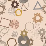 Seamless background abstract geometric mixed pattern for design. Illustration, decoration, concept & graphic. Seamless background abstract geometric mixed stock illustration