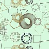 Seamless background abstract geometric mixed pattern for design. Messy, bubbles, creative & triangle. Seamless background abstract geometric mixed pattern for royalty free illustration