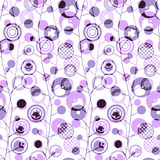 Seamless background with abstract geometric pattern of circles of various sizes. Seamless background with abstract geometric pattern in lilac and black colors Stock Illustration