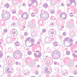 Seamless background with abstract geometric pattern of circles of various sizes. Seamless background with abstract geometric pattern in pink and purple colors Stock Illustration