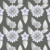 Seamless background abstract illustration of nature. Figure 3D, flowers, leaves. Stock Photo