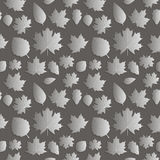 Seamless background abstract illustration of nature. Figure 3D,. The leaves of maple trees, aspen, oak. Color silver dark tone. Vector Stock Photo
