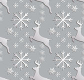 Seamless background abstract illustration of winter. Figure 3D, reindeer, snowflakes. Color white, gray. Vector Royalty Free Stock Photo