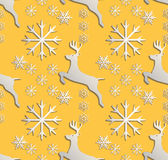 Seamless background abstract illustration of winter. Figure 3D, treindeer, snowflakes. Color white, yellow. Vector Stock Images