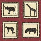 Seamless background with african animals. Buffalo, giraffe, gepard , hippopotamus Stock Image