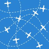 Seamless background with airplanes flying  on blue Stock Photo