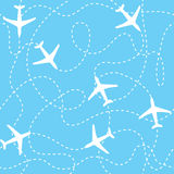 Seamless background airplanes flying with dashed Stock Photo