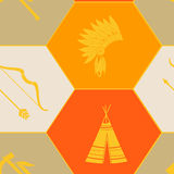 Seamless background with american indian icons Royalty Free Stock Images