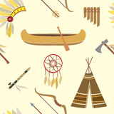 Seamless background with american indian icons Stock Photo