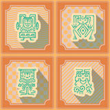Seamless background with American Indians relics dingbats characters. For your design Royalty Free Stock Photo