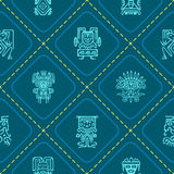 Seamless background with American Indians relics dingbats characters Royalty Free Stock Image