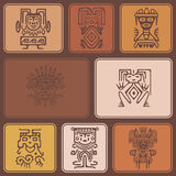 Seamless background with American Indians relics dingbats characters Royalty Free Stock Photos