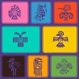 Seamless background with American Indians relics dingbats characters Royalty Free Stock Images