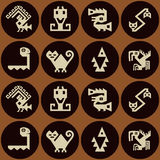 Seamless background with American Indians relics dingbats characters Royalty Free Stock Photo