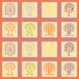 Seamless background with American Indians relics dingbats characters Stock Images