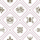 Seamless background with American Indians relics dingbats characters Stock Photography